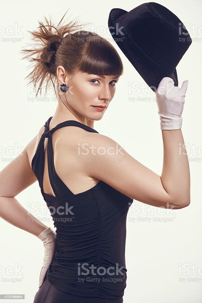 Stylish woman with hat stock photo