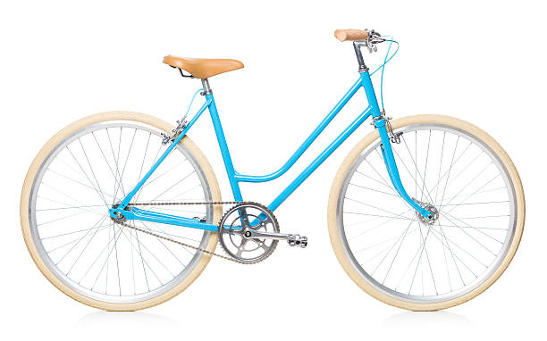 Stylish womens blue bicycle isolated on white stock photo