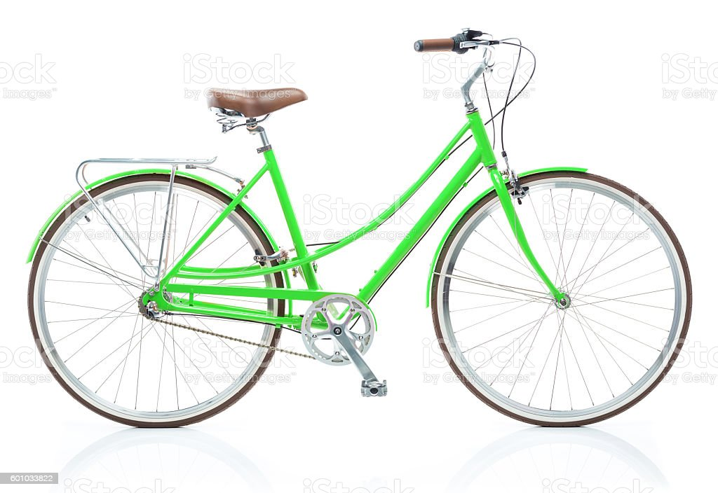 Stylish womens green bicycle isolated on white stock photo