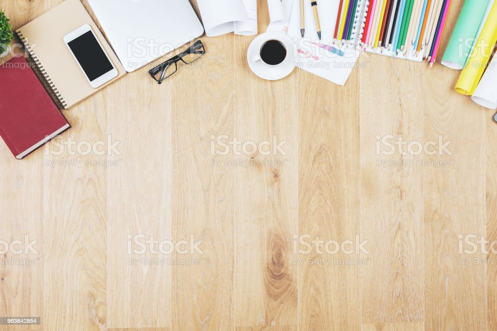 Stylish wooden desktop with objects - Royalty-free Business Stock Photo