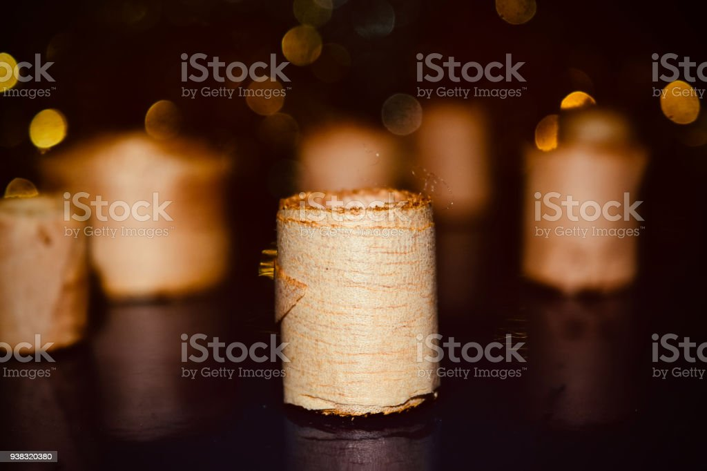 Stylish wooden rolls isolated unique photo stock photo