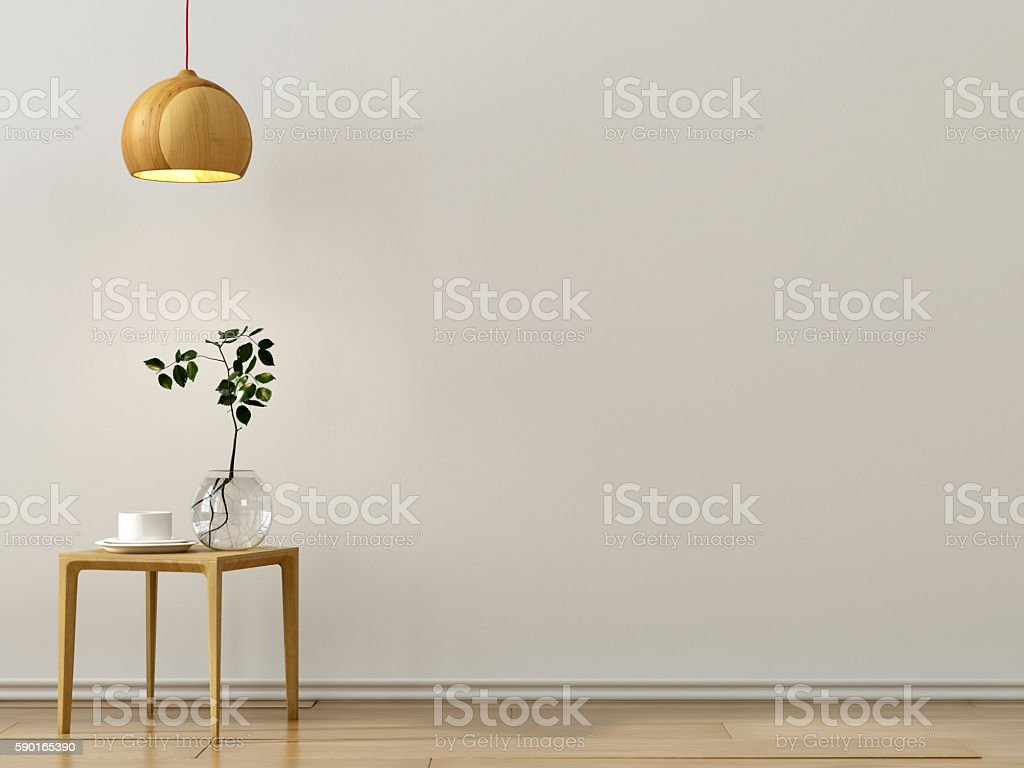 Stylish wooden table and a chandelier stock photo