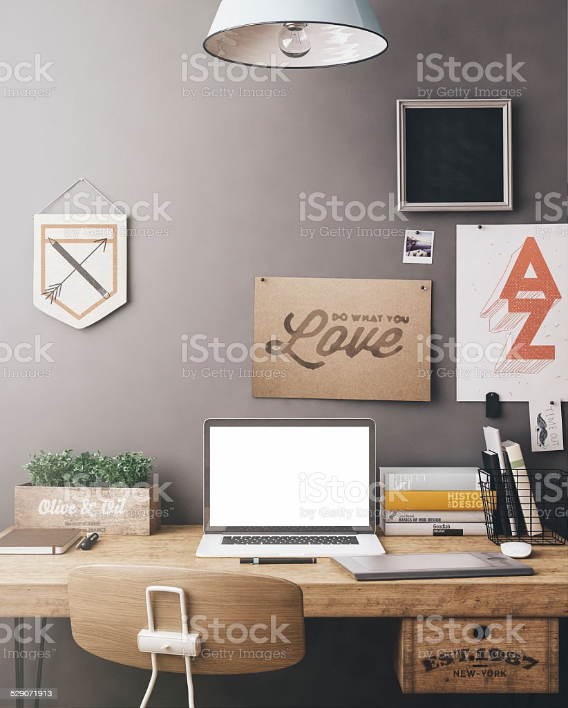 Stylish workplace mockup stock photo