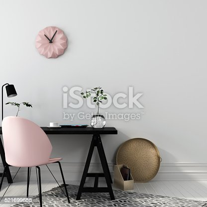 istock Stylish workplace with a pink chair 521699688