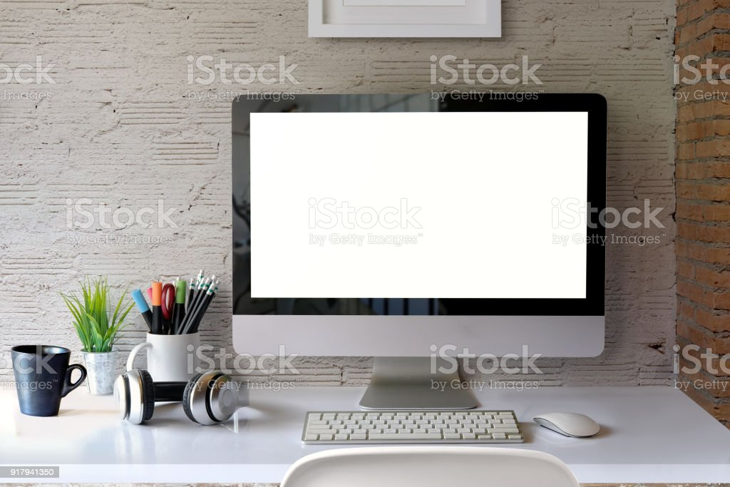 Charmant Stylish Workspace Mockup Desktop Computer And Office Accessories.  Royalty Free Stock Photo