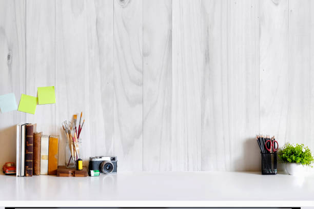 Stylish workspace with supplies. stock photo