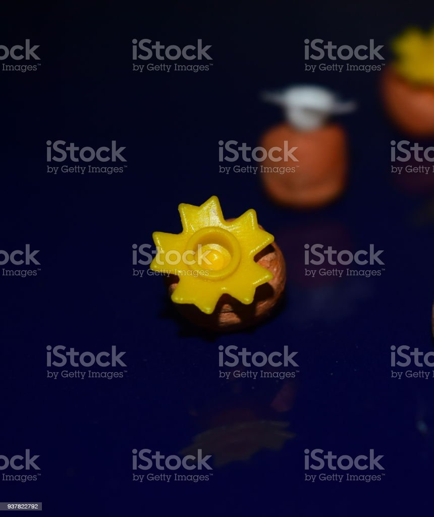 Stylish yellow coloured plastic objects stock photo