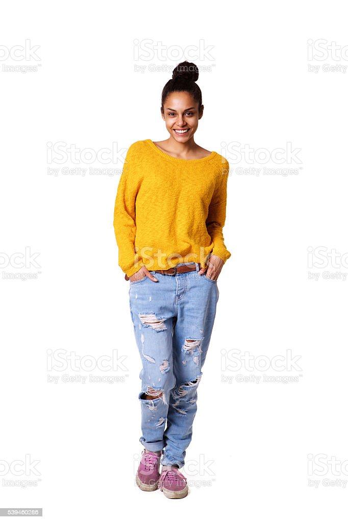Стильная молодая Африканская женщина, стоя на белом стоковое фото