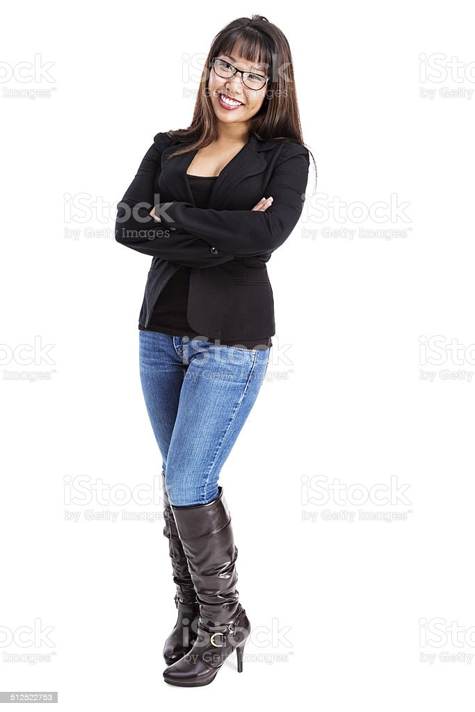 Stylish Young Asian Woman in Black Blazer and Boots stock photo
