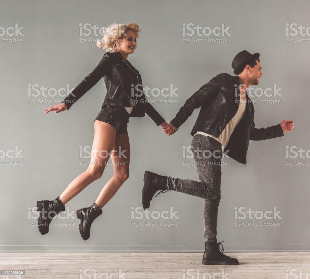 Stylish young couple royalty-free stock photo