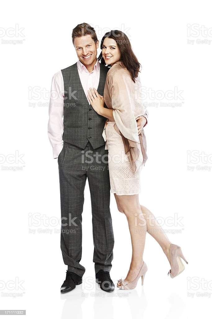 Stylish young couple standing together on white royalty-free stock photo