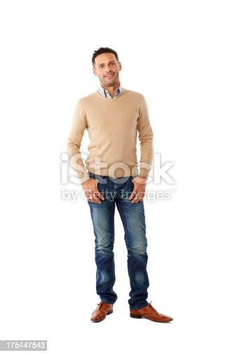 istock Stylish young guy standing on white background 175447543