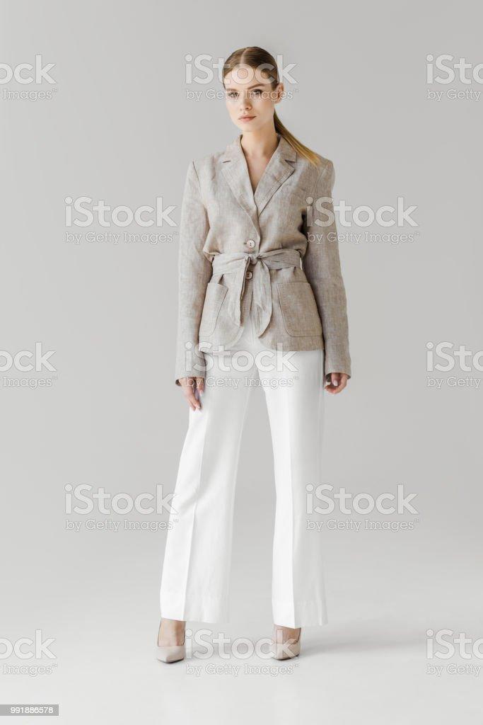 Veste en lin blanche femme