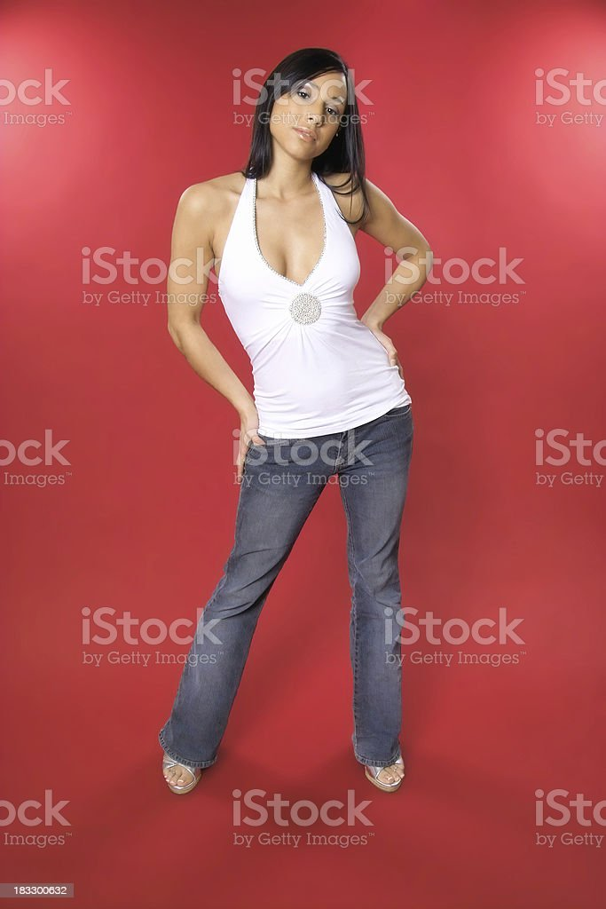 Stylish Young Woman on Red stock photo