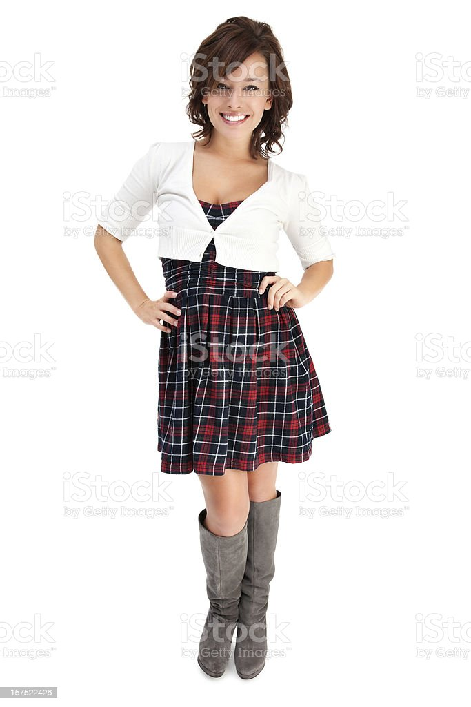 Stylish Young Woman on White royalty-free stock photo