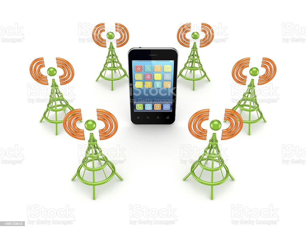 Stylized antennas around mobile phones. stock photo