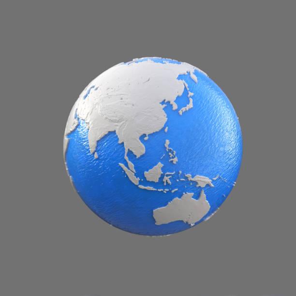 stilisierte blaue und weiße Kugel, Arabien, Asien, Indien, China, Japan, Indonesien, Australien – Foto