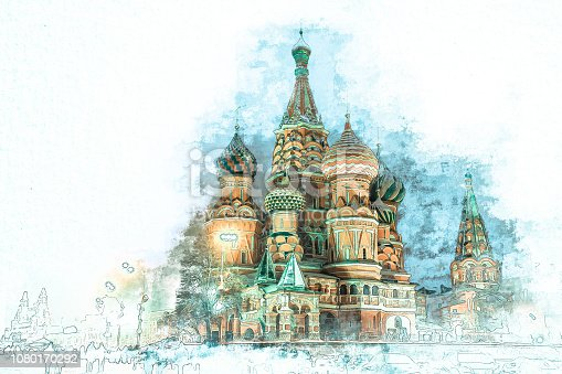 Stylized by watercolor sketch painting of  beautiful St. Basil Cathedral, Moscow, Russia on a textured paper. Retro style postcard.