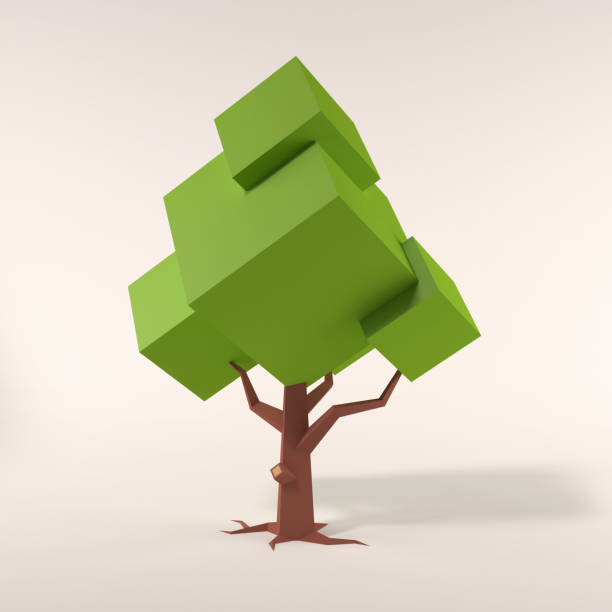 Stylized geometric tree  on a white background 3d rendering stock photo