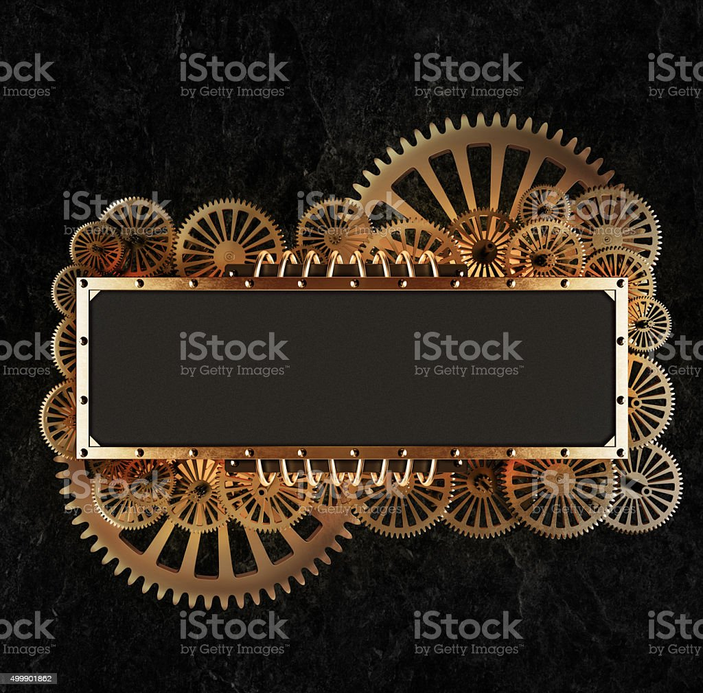 Stylized gold mechanical steampunk gears collage. stock photo