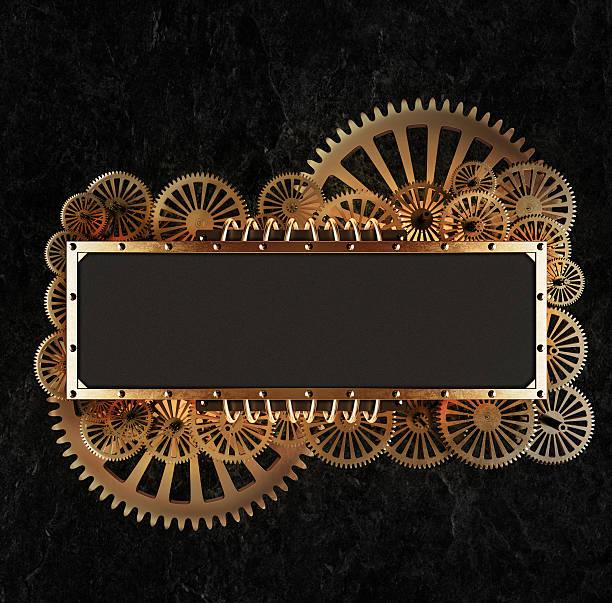 Stilisierte goldenen Getriebe mechanischer steampunk collage. – Foto