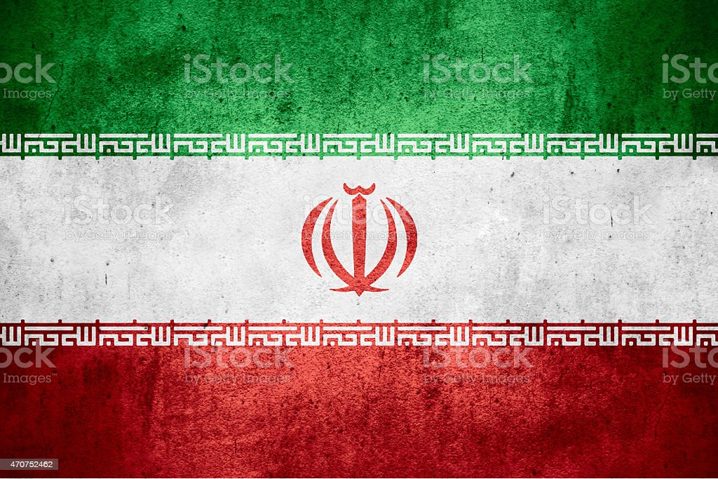 Stylized green, white and red flag of Iran with spatter stock photo