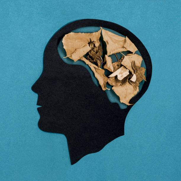 Stylized head silhouette. Dementia stock photo