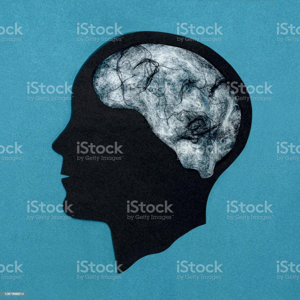 Stylized head silhouette. Depression stock photo