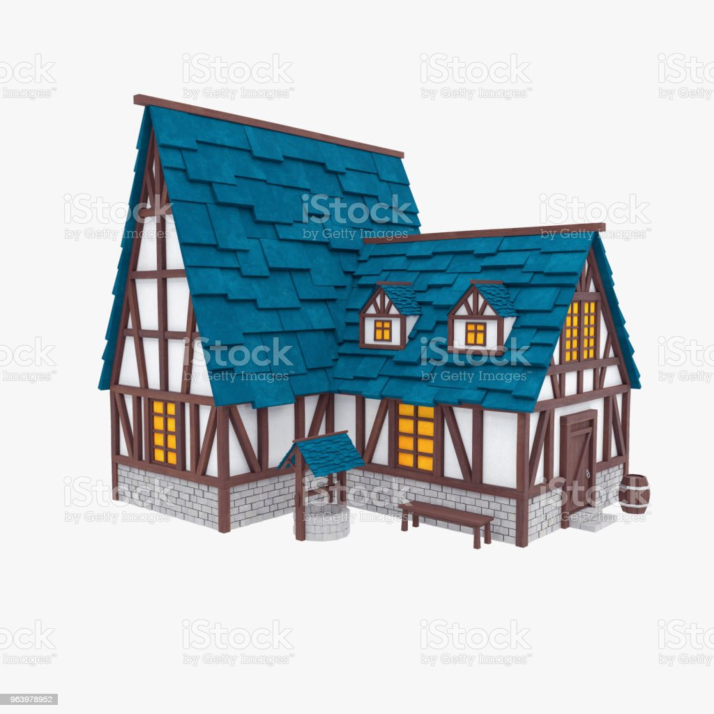 Stylized medieval house. Tudor architecture stock photo
