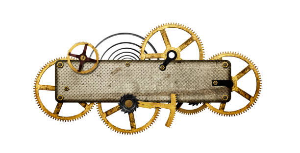 stylized metal collage of clockwork - steampunk stock photos and pictures