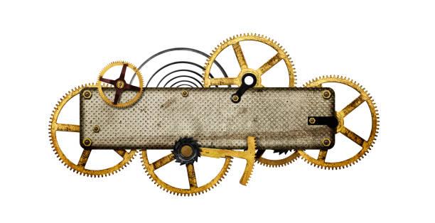 gestileerde metalen collage van uurwerk - steampunk stockfoto's en -beelden