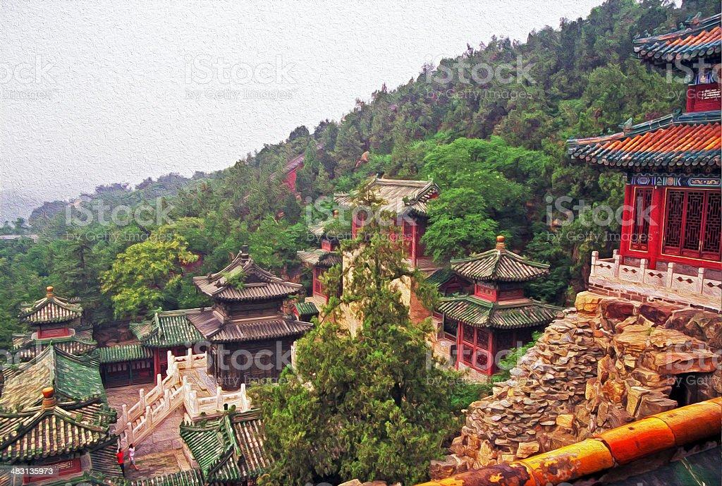 stylized photo of beautiful buildings at summer palace, beijing stock photo