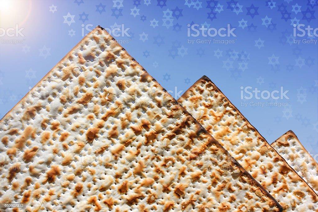 stylized pyramid of matzo stock photo