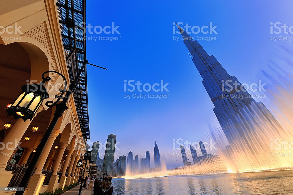 Stylized shot of the musical fountain in Dubai stock photo