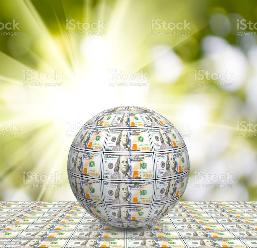stylized sphere from banknotes close up stock photo