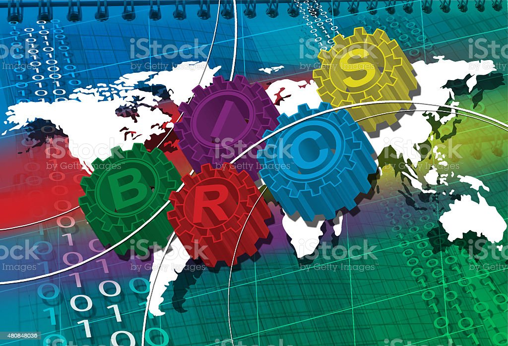 BRICS stylized symbol of gears. world economy stock photo