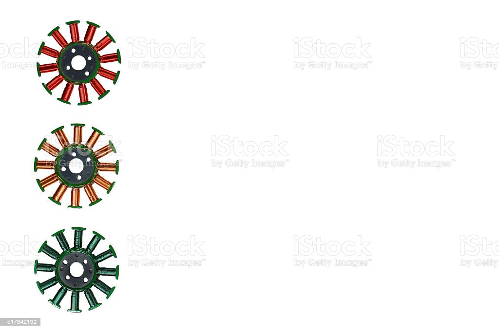 Stylized three colors signal light made of disassembled brushles stock photo