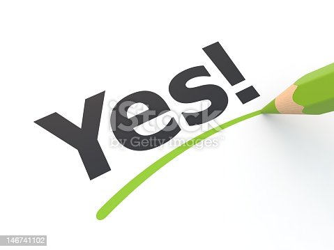istock Stylized yes exclamation underlined in green 146741102