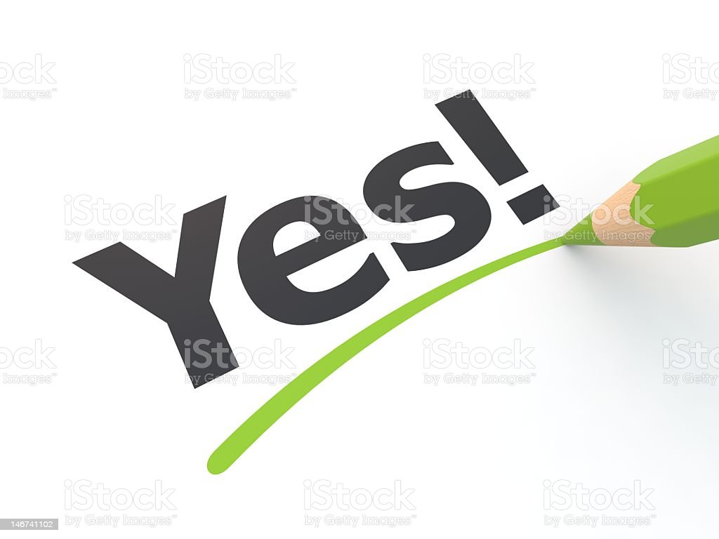 Stylized yes exclamation underlined in green stock photo