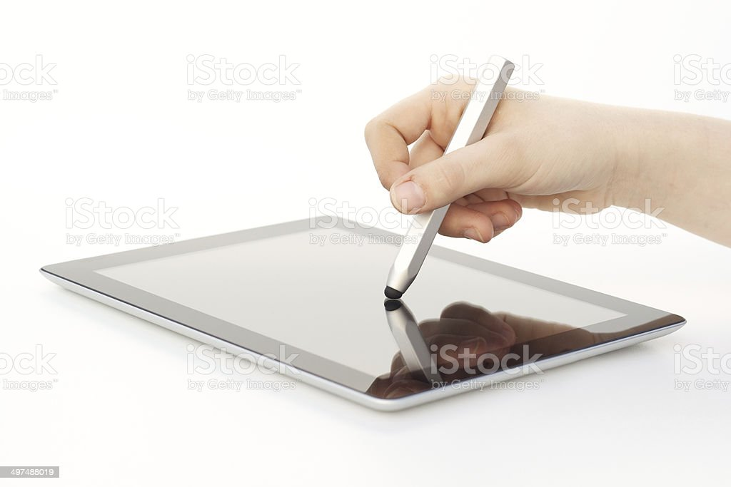 Stylus being used on Tablet Computer stock photo