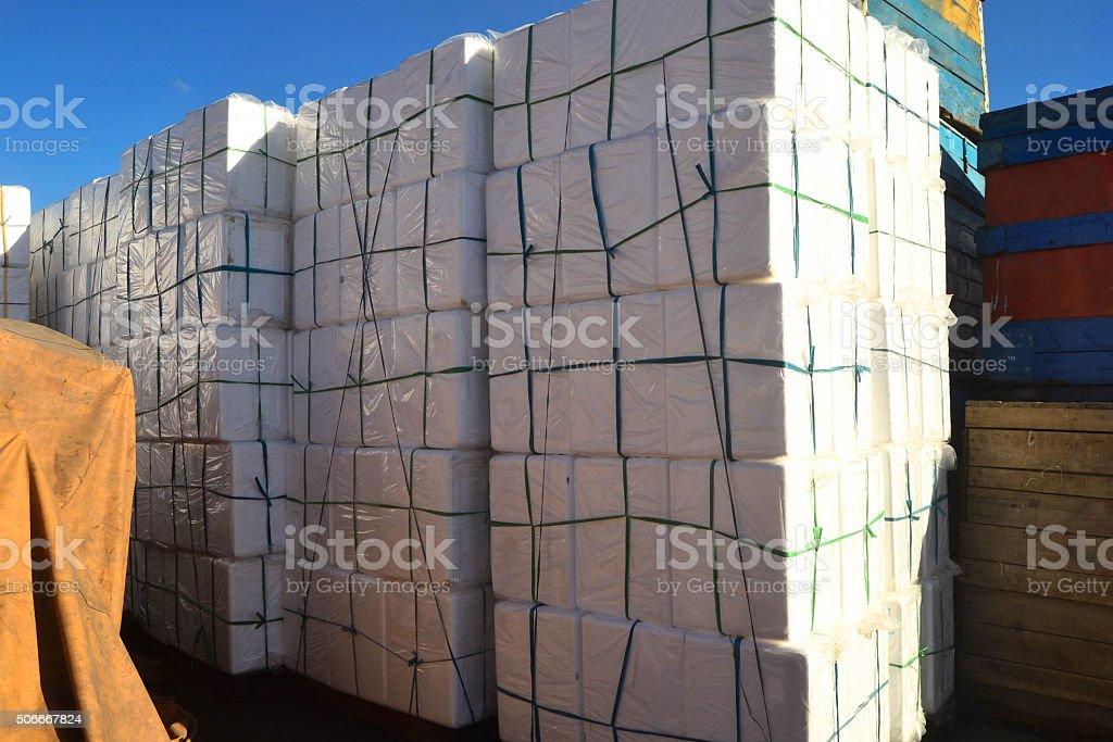Stypor boxes at the dock photo stock photo