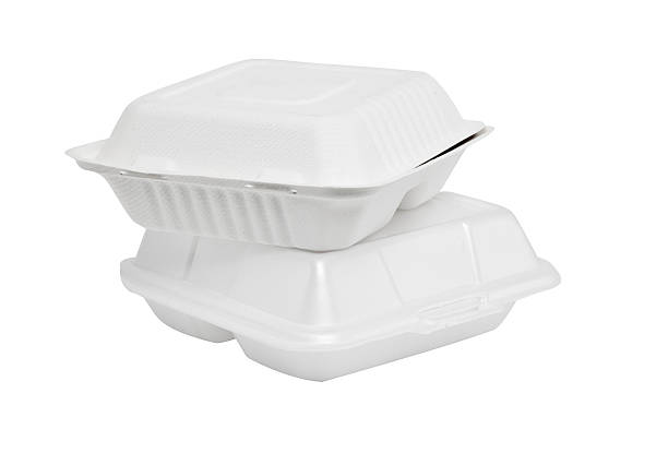 Styrofoam box on white background Two cartons and disposable white foam polystyrene stock pictures, royalty-free photos & images
