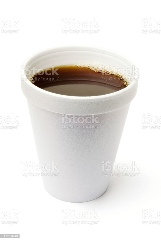 Styrofoam cup of coffee on a white background stock photo