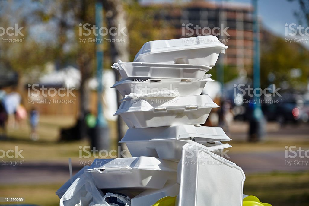 Styrofoam Food Containers stock photo
