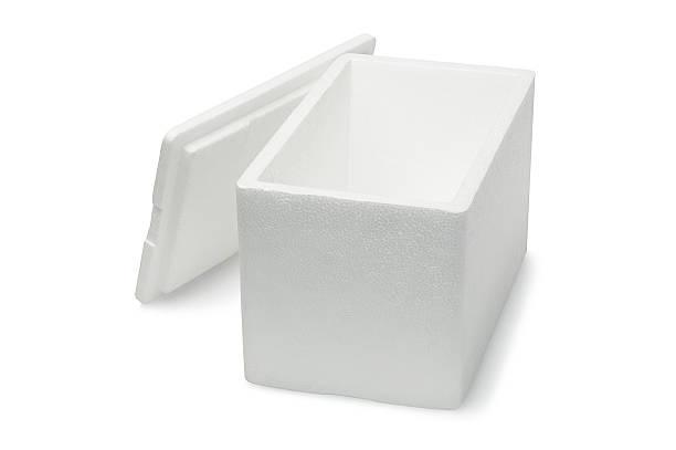 Styrofoam Storage Box Open Styrofoam Storage Box on White Background polystyrene stock pictures, royalty-free photos & images