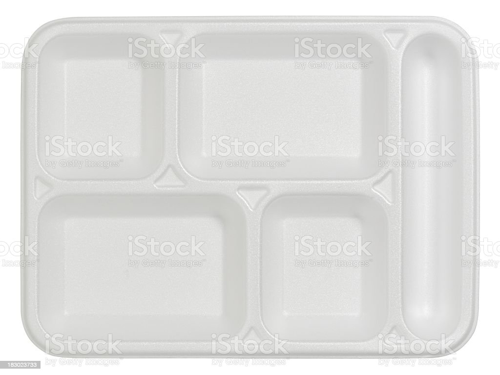 Styrofoam tabldot (isolated with clipping path over white background) stock photo