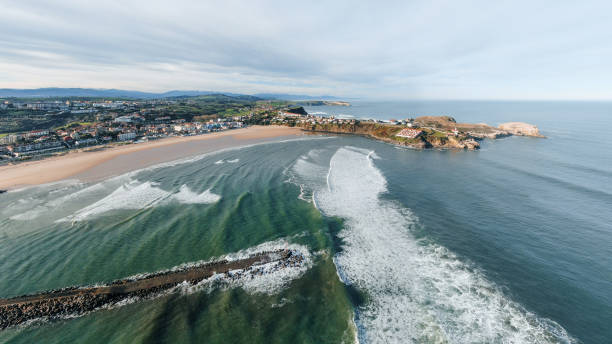 Suances, Cantabria, Spain, as seen from above stock photo