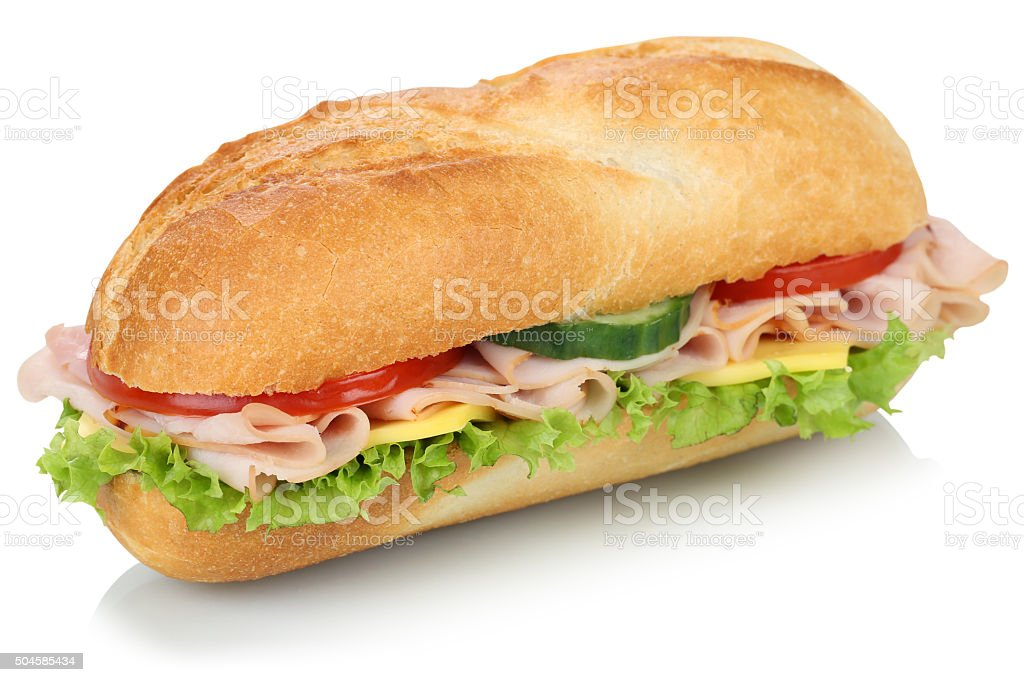 Sub deli sandwich baguette with ham isolated stock photo