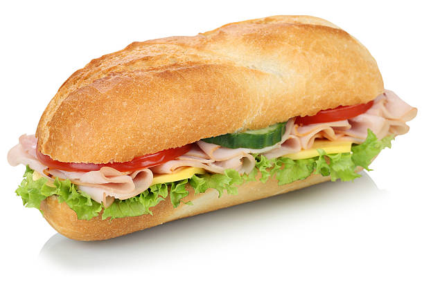 sub deli sandwich baguette with ham isolated - cheese sandwich bildbanksfoton och bilder