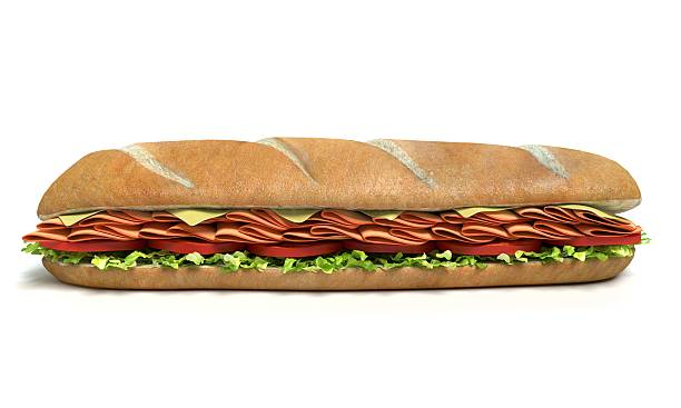 Sub Sandwich Isolated 3d illustration of a sub sandwich isolated submarine sandwich stock pictures, royalty-free photos & images